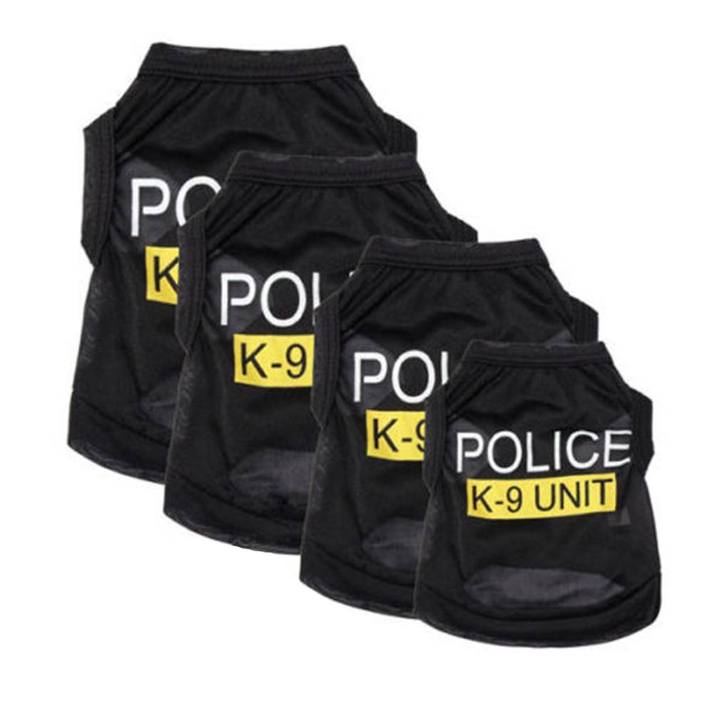 Police Suit Cosplay Dog Clothes Black Elastic Vest Puppy T-Shirt Coat Accessories Apparel Costumes Pet Clothes for Dogs Cats Dog's Accessories