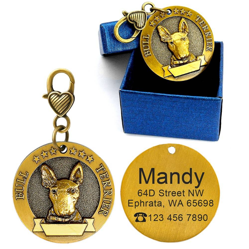 Dog ID Tag Engraved Personalized Metal Pet Dog Tags Custom Puppy Cat ID Name Tags Collar Accessories For Dogs Necklaces Pendants Dog's Accessories