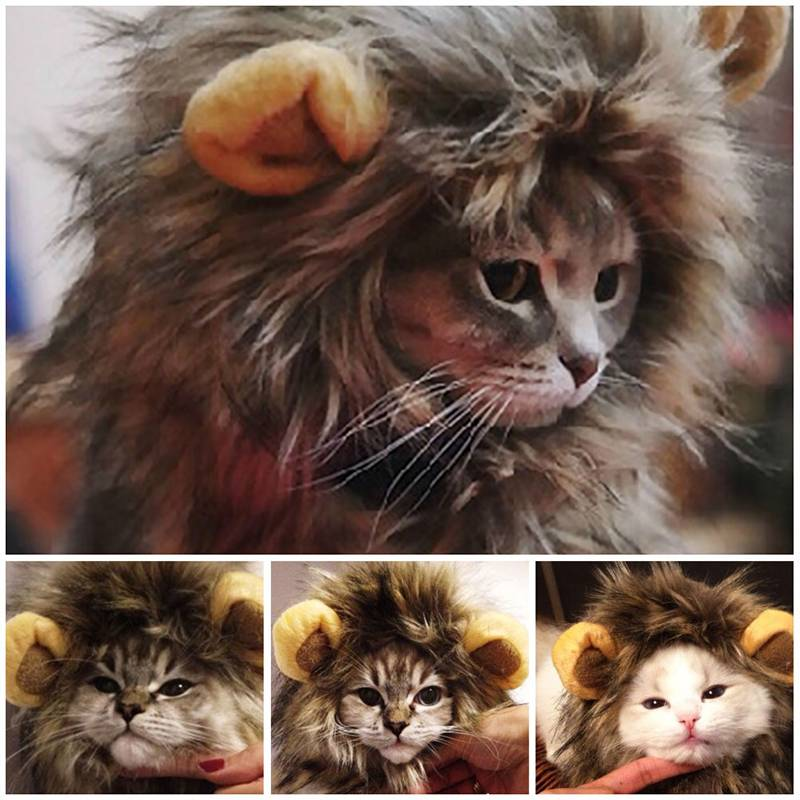 Furry Pet Hat Costume Lion Mane Wig For Cat Halloween Fancy Dress Up With Ears Party Home Cat's Accessories