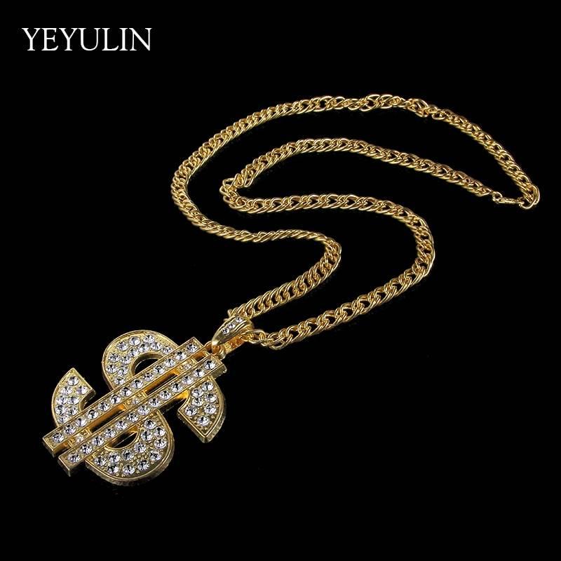 Hip Hop Gold Color Dollar Sign $ Pendants & amp; Necklaces With Long Twist Chain Statement Necklace For Woman Men Necklaces