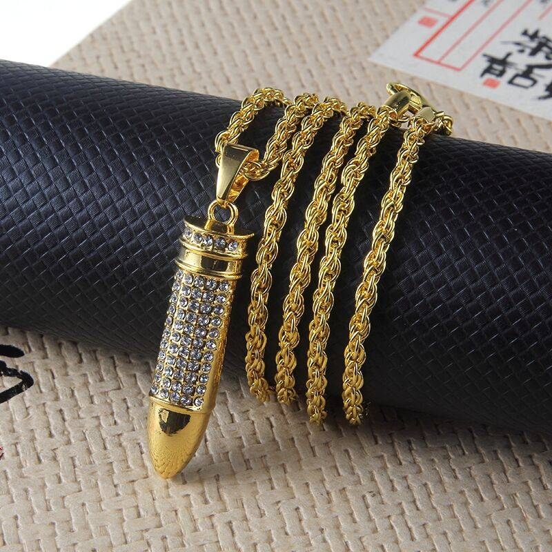 New Full Rhinestone Uzi Gun Cross Pendant Necklaces Long Cuban Link Chain Fashion Necklace For Unisex Hip Hop Jewelry Necklaces