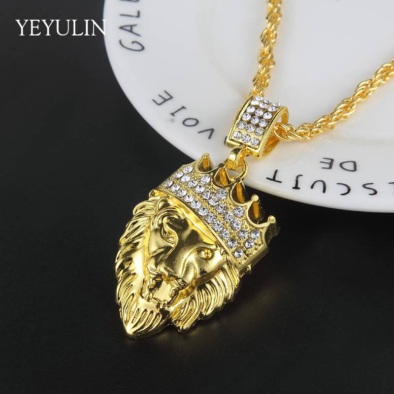 New Arrival Hip Hop Crown Lion Crystal Pendant Necklace Long Cuba Chain Statement Jewelry For Male Necklaces