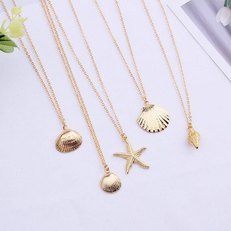 Summer Starfish Shell Conch Pendant Necklace Natural Shell Gold Color Women Best Friend Cowry Seashell Necklace Bohemian Jewelry Necklaces