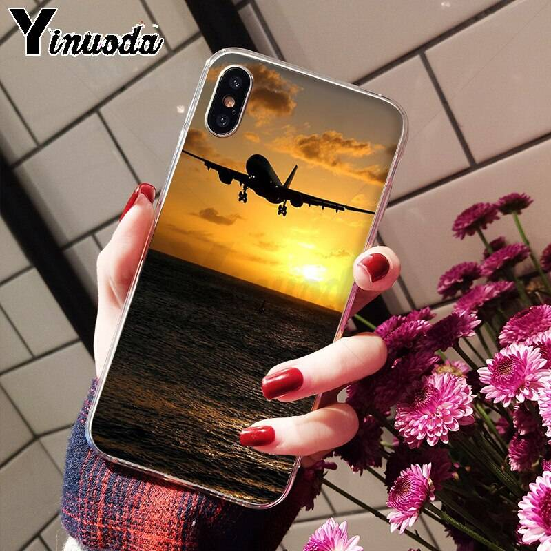 Airplane At The Sunrise aircraft plane Soft TPU Phone Case for iPhone 6S 6plus 7 7plus 8 8Plus X Xs MAX 5 5S XR iPhone Case