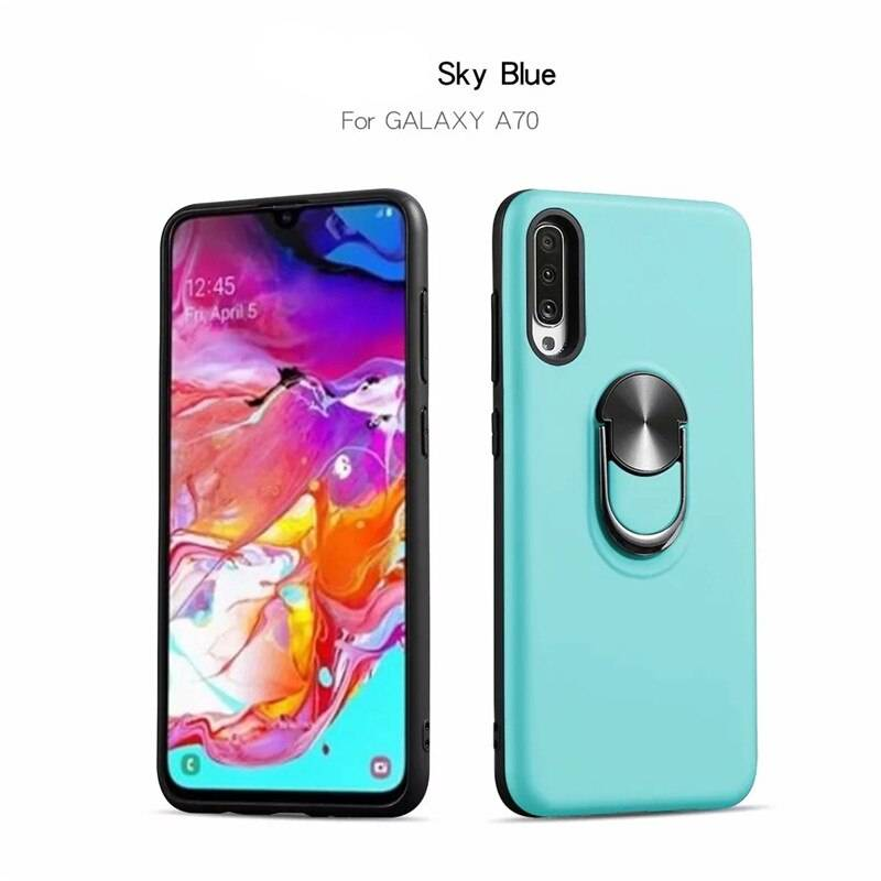 For Samsung Galaxy A10 A20 A30 A40 A50 Case Luxury Car Holder Metal Ring Candy Color Soft TPU Case for Galaxy A60 A70 A80 Cover