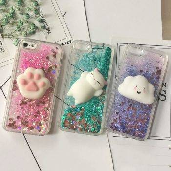 3D Squishy Cat Case For iPhone 5S SE 7 7 Plus Case Liquid Quicksand Glitter Silicone Case For iPhone 8 Plus Xs Xr 6s Cover Coque iPhone Case Phone Bags & Cases