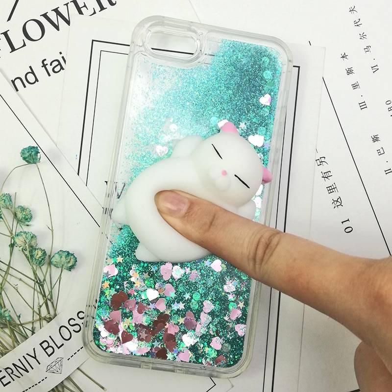 3D Squishy Cat Case For iPhone 5S SE 7 7 Plus Case Liquid Quicksand Glitter Silicone Case For iPhone 8 Plus Xs Xr 6s Cover Coque iPhone Case Phone Bags & Cases