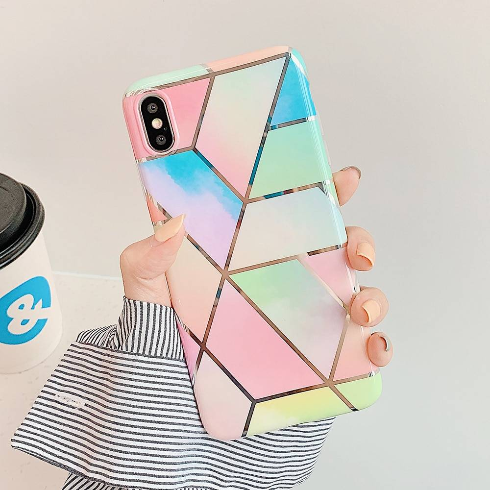 Geometric Marble Phone Cases For iPhone 11 Pro Max XR XS Max 6 6S 7 8 Plus X Soft IMD Electroplated Back Cover Coque iPhone Case Phone Bags & Cases