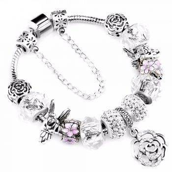925 Fashion Silver Charms Bracelet Bangle For Women Crystal Flower Beads Fit Pandora Bracelets Jewelry Bracelets