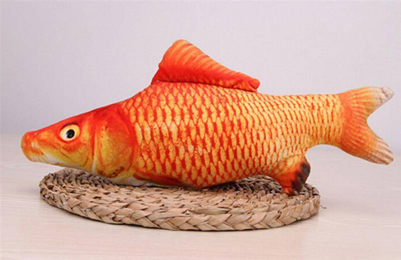 Pet Soft Plush Creative 3D Carp Fish Shape Cat Toy Gifts Catnip Fish Stuffed Pillow Doll Simulation Fish Playing Toy For Pet Cat's Accessories