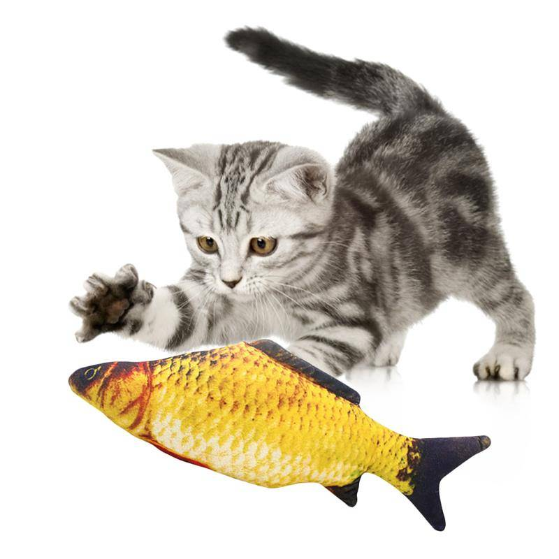 Pet Soft Plush 3D Fish Shape Cat Toy Interactive Gifts Fish Catnip Toys Stuffed Pillow Doll Simulation Fish Playing Toy For Pet Cat's Accessories