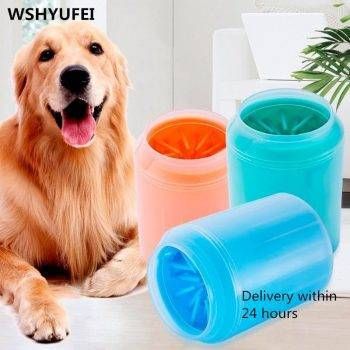 Dog Paw Cleaner Cup Soft Silicone Combs Portable Outdoor Pet Foot Washer Cup Paw Clean Brush Quickly Wash Foot Cleaning Bucket Dog's Accessories
