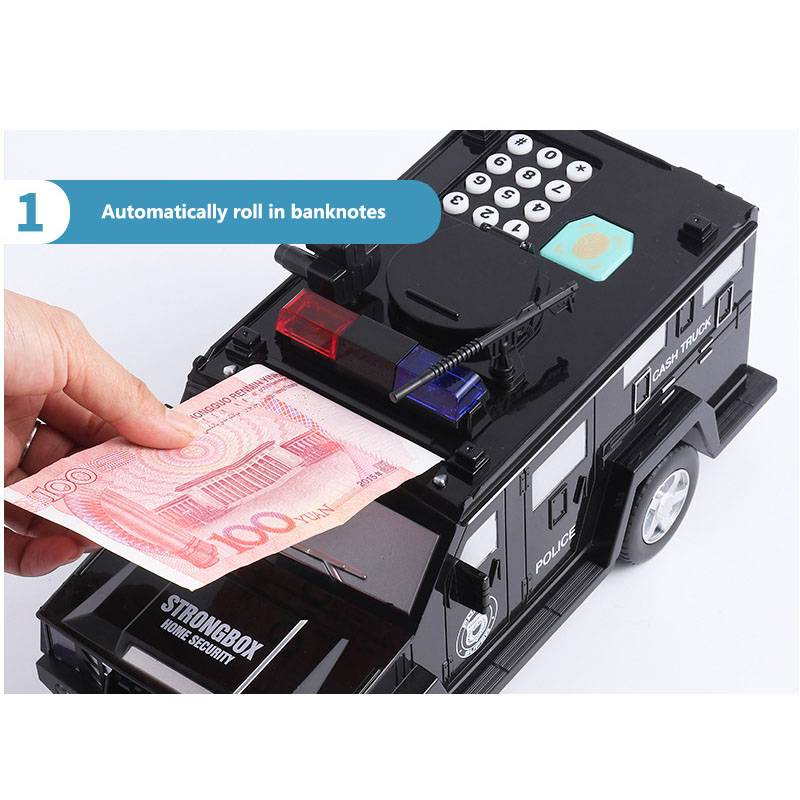 Fingerprint Password Cash Truck Car Piggy Bank Kids Money Box Coin Paper Bank Safe Saving Storage Box Alcancias Music Toy Gift Car Accessories