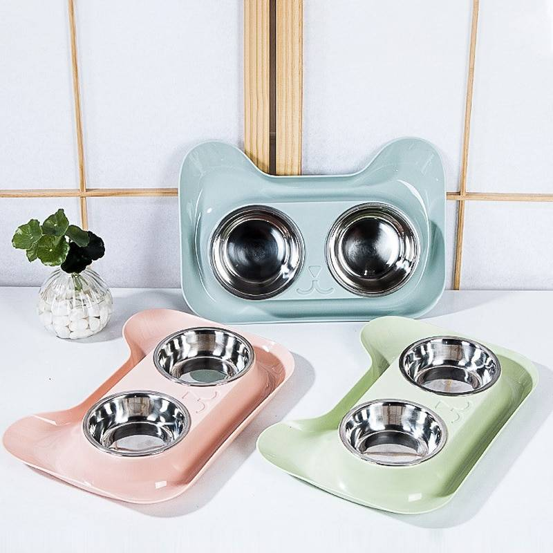 Double Cat Bowl Pet Food Water Feeder Cute Stainless Steel Puppy Drinking Dish Dog Bowl Feeder Non-skid Water Container for Dog Cat's Accessories