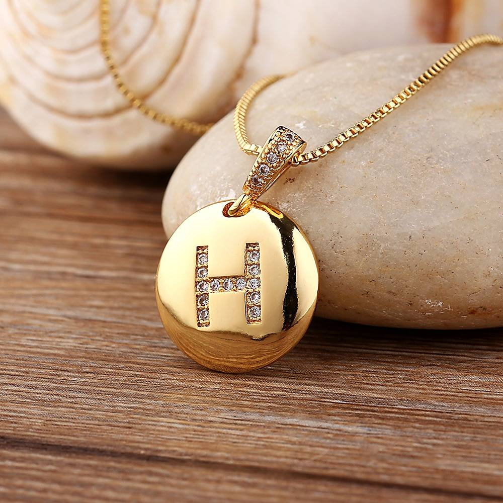 Top Quality Women Girls Initial Letter Necklace Gold 26 Letters Charm Necklaces Pendants Copper CZ Jewelry Personal Necklace Jewelry Necklaces