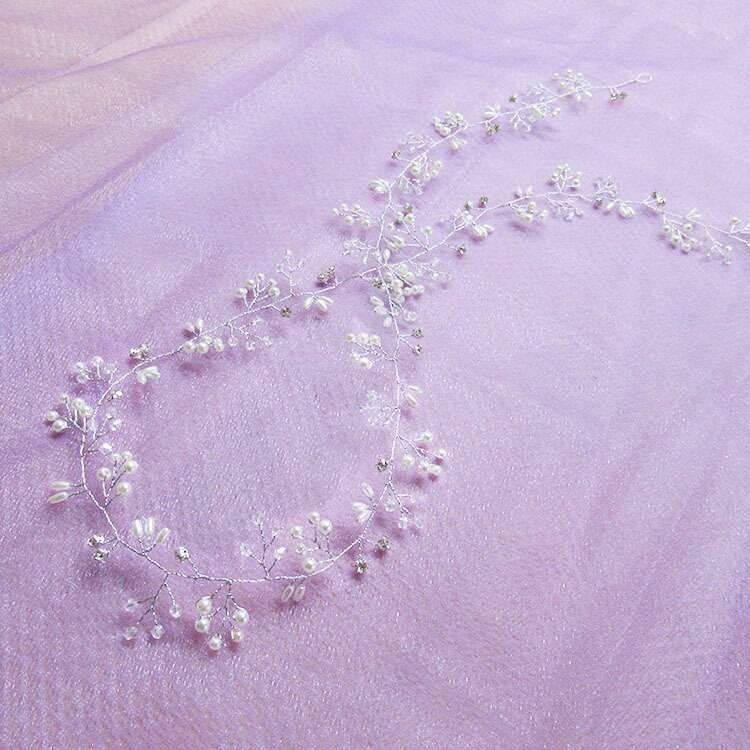 35cm Crystal Pearl Hair Belt Wedding Bridal Hair Ornaments Bridal Headwear Decorations for Brides Wedding Hair Jewelry Wedding & Engagement Jewelry