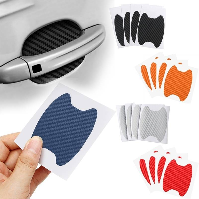 4Pcs/Set Car Door Sticker Carbon Fiber Scratches Resistant Cover Auto Handle Protection Film Exterior Styling Accessories Car Accessories