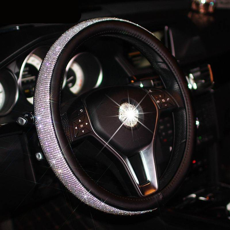 Bling Bling Rhinestones Crystal Car Steering Wheel Cover Leather Steering-wheel covers Auto Accessories Case Car Styling Car Accessories