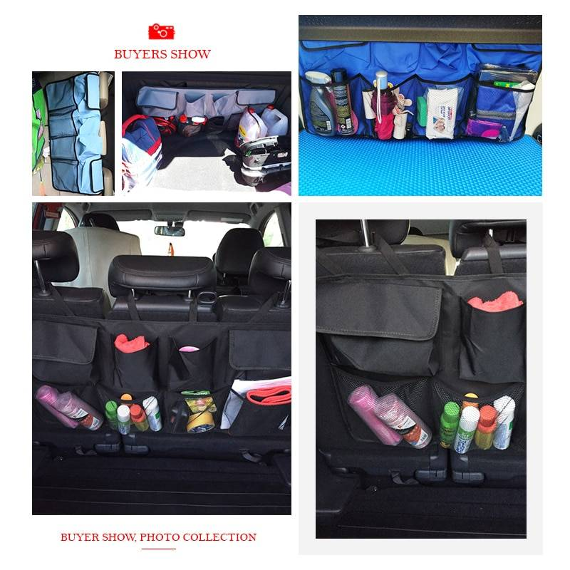 Car Rear Seat Back Storage Bag Multi Hanging Nets Pocket Trunk Bag Organizer Auto Stowing Tidying Interior Accessories Supplies Car Accessories