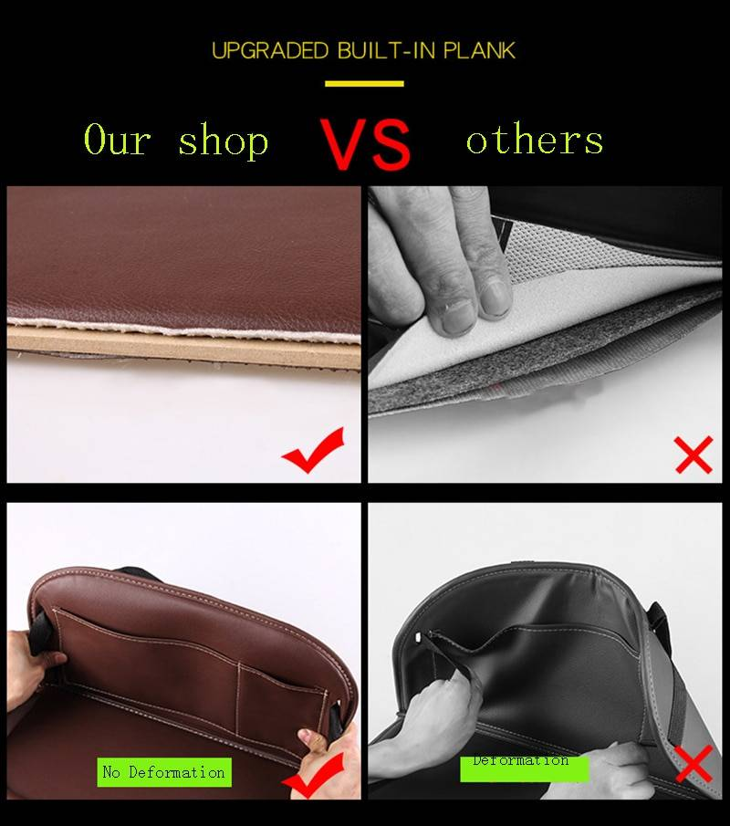 New Car Seat Back Organizer Pu Leather Pad Bag Foldable Table Tray Travel Storage Bag Multifunction Tidying Box Car Styling Car Accessories