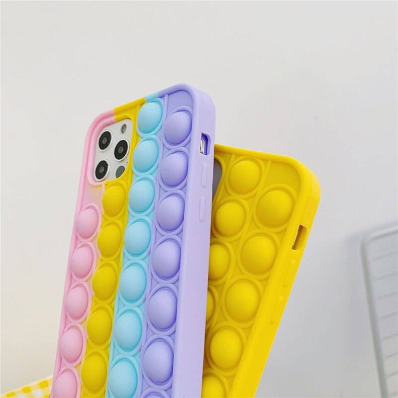 For iPhone 12 Pro Max 11 7 8P XS XR X Case Cover Reliver Stress Pop Fidget Toys Push It Bubble Antistress Sensory Game Adult Kid iPhone Case Phone Bags & Cases